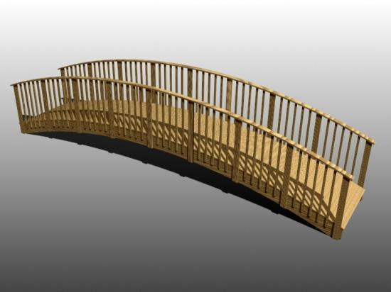 Passerelle piétonne cintrée bois 3,50 x 1,50m en sciages